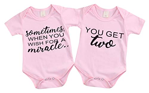 - Mini honey 2Pcs Infant Twins Baby Boys Girls Short Sleeve Letter Print Romper Bodysuit Summer Outfit Clothes (3-6 Months, Pink)