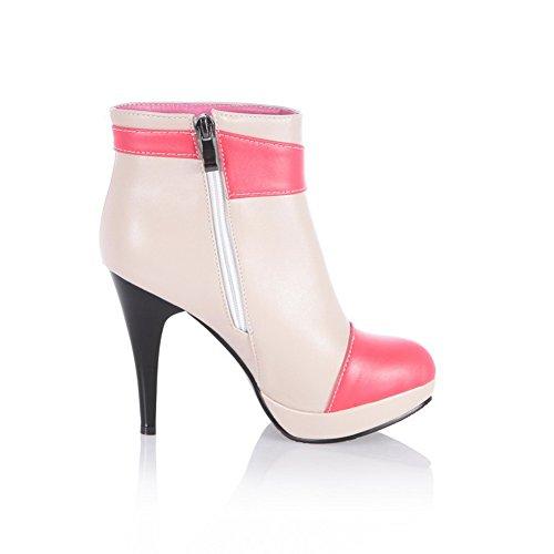 Amoonyfashion Donna Tacco Tondo Tacchi Alti Pu Breve Peluche Colori Assortiti Stivali Con Rivetto E Metallo Rosso