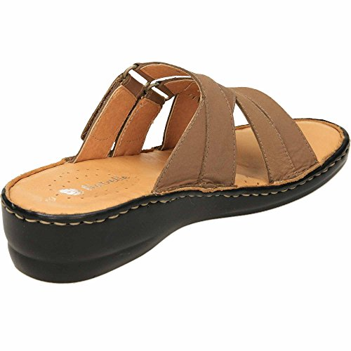Taupe Leather Elaine Mule Wedge Sandals On Natrelle Slip qaUw7P1