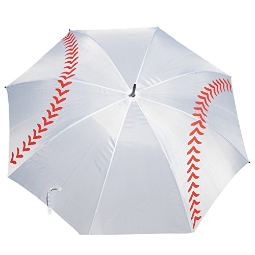Baseball or Softball Slow Pitch Fast Pitch Girls Boys Golf Umbrella 60 inch arc (White)