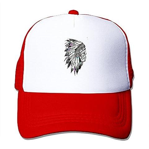 Art Styke Chief Headdress Hats Snapback Mesh Cap Adjustable Baseball Caps Unisex Trucker Hat Red (Chief Head Snapback)