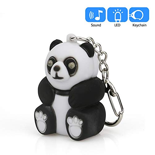 YESSKO Cute Cartoon Panda Keychains with LED Light and Sound Keyfob Kids Toy Gift Keyrings Key Chain (Black)