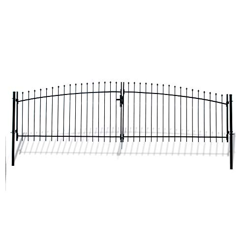 ALEKO DWGD15X5 DIY Arched Steel Dual Swing Driveway Gate Kit with Lock Athens Style 15 x 5 Feet ()
