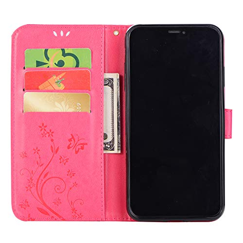 iPhone XS Max 対応ケース 6.5 インチ専用 iphone XS Max ケース 手帳型 カバー おしゃれ 純色 バタフライの印 PUレザー 上絵 手帳型 カード入れ アイフォンxs max 財布カバー スタンド機能 耐衝撃 防塵 耐久性 装着やすい 吸着の機能 キラキラ 胡蝶 スワロフスキ-ラインストーン デコ メチャ可愛い XS Max ケース アイフォン XS Max スマホカバー (ローズ)