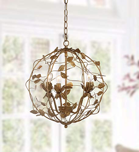 Safavieh CHA4007A Lighting Collection Austen Cage Gold Leaf Chandelier
