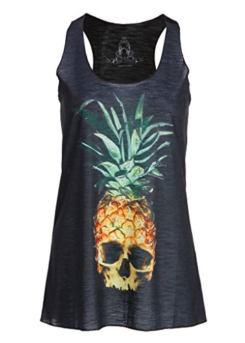Pretty Attitude Womens Black Pineapple Skull Loose Fit Muscle Tee Tank Top - Size Large