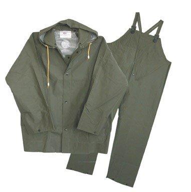 Boss Gloves 3PR0300G-J Extra Large Green 3 Piece 35mm Lined Rainsuit, Green