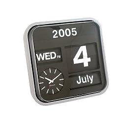 Karlsson Big Flip Calendar Clock Silver