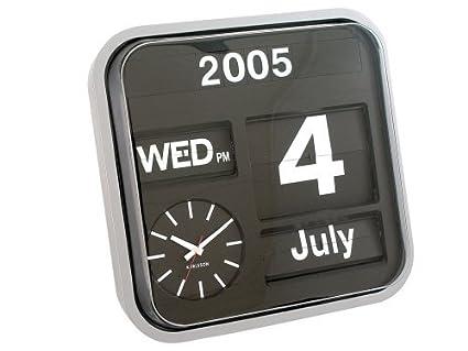 Karlsson Flip Klok : Amazon karlsson big flip calendar clock silver home kitchen