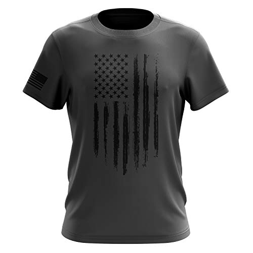 (The Fighting Forces American Flag Military Army Mens T Shirt (Flag Grey, XX-Large))
