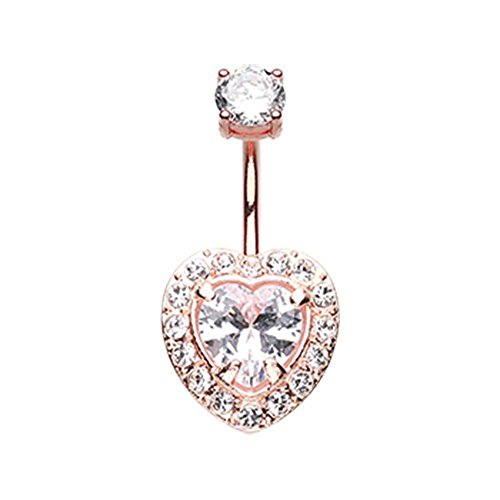 Rose Gold Brilliant Heart 316L Surgical Steel WildKlass Belly Button Ring