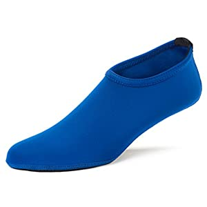FUN TOES Barefoot Water Skin Shoes Aqua Socks For Beach Pool Sand Swim Surf Yoga Water Aerobics (Large Women 6.5-8, Men 5.5-7, Blue)
