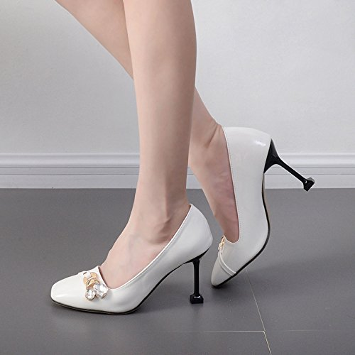 HGTYU Leather Shallow Mouth 9Cm High Heels High Heels Square Diamond With A Fine Single Shoes Spring And Autumn Occupation Work Thirty-five B0rbyEPxY