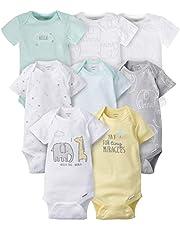 Gerber Baby - overol de manga corta (8 unidades), Blanco sólido, 0-3 meses