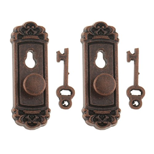 MonkeyJack 2pcs 1:12 Vintage Metal Door Knob Plate Key Set Dollhouse Miniature Handle