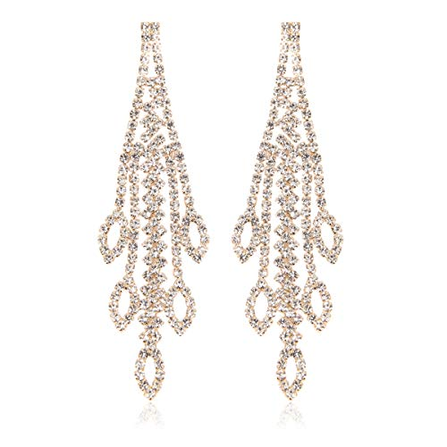 RIAH FASHION Sparkly Geometric Rhinestone Chandelier Hoop Statement Earrings - Cubic Zirconia Crystal Bridal Duster Dangles Fringe Tassel/Waterfall Drape/Circle Ring (Marquise Cascade - Gold)