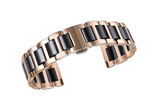 Solid Rose Gold Watch (22mm Deluxe Solid Ceramic Watch Belts 316L Stainless Steel in Two Tone Rose Gold and Black Brushed Buckle)