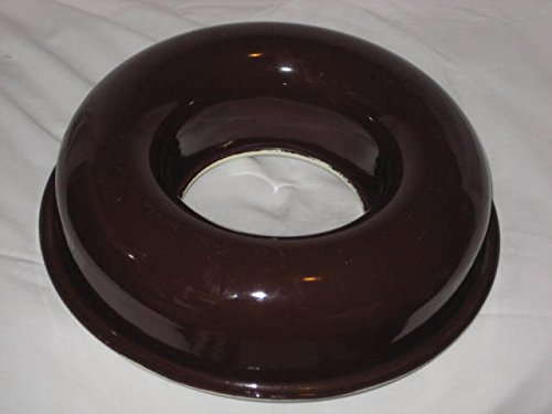 Vintage Dark Brown & White Heavy Enamel Over Metal 10x3 Inch Ring Jell-O Mold / Cake Baking Pan Unknown