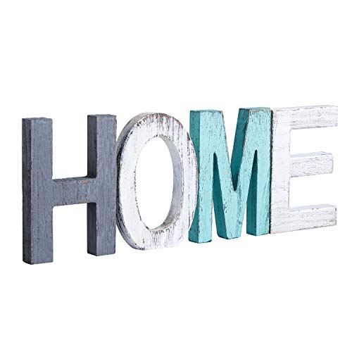 Y&ME Rustic Wood Home Sign, Decorative Wooden Block Word Signs, Freestanding Wooden Letters, Rustic Home Signs for Home Decor, 16.5 x 5.9 Inch, - Sign Blocks Home