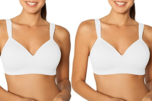 Fruit of the Loom  Women's Plus-Size Seamless W F Convertible Bra, White, 38D(Pack of 2) (Fruit Of The Loom Wirefree Bra)