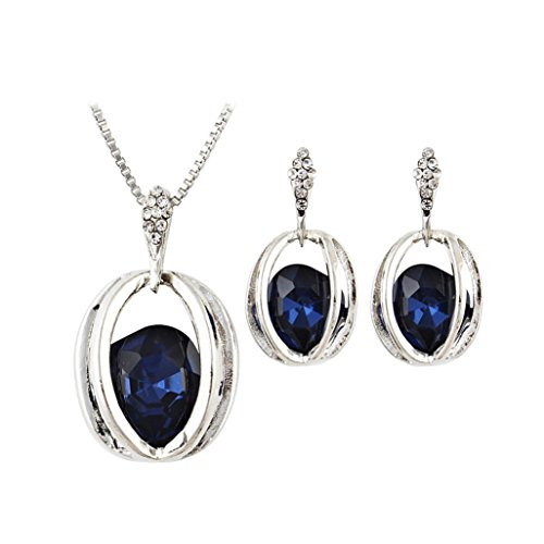Celendi_Jewelry 3 PCS Earring Crystal Pendant Necklace Ear