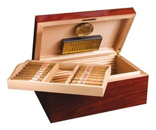 Adorini cigar humidor Satiago, with lacquer finish & 3 drawers cabinet, hygrometer and humidifier. Best humidor for cigars that maintains perfect humidity