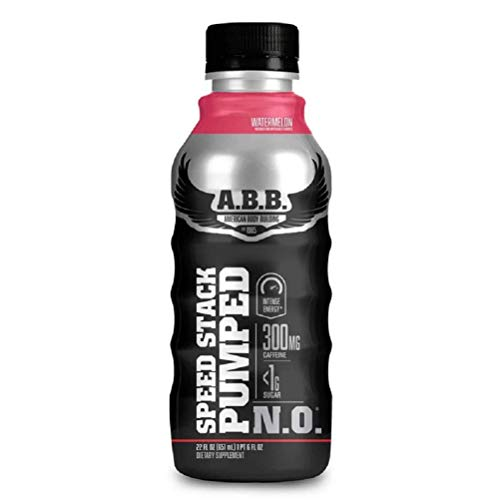 ABB Speed Stack Pumped N.O. Energy Drink, Pre Workout, Nitric Oxide, Arginine and Glycerol for Pumps, Flavor: Watermelon, 22 Ounce Bottles, 12 Count