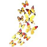 Caopixx 3D Butterfly Wall Stickers Design Decal Art Wallpaper Room Magnetic Home Decor (Yellow (12pcs))
