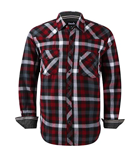 Men's Western Flannel Casual Shirt Two Pocket Long Sleeve Snap Shirt