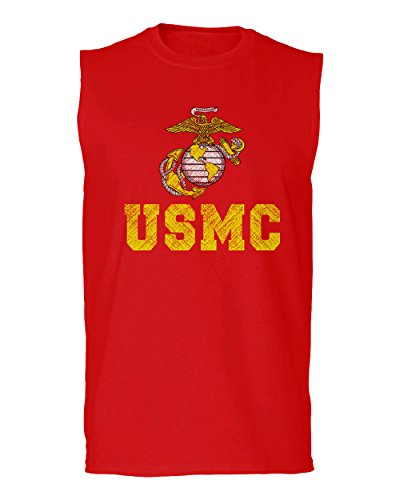 Marines Sleeveless (VICES AND VIRTUESS Marine Corp USMC Big Logo United States Of America USA American Soldier Men's Muscle Tank Top Sleeveless t Shirt (Red Large))
