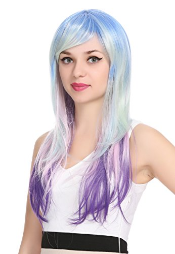 ZUUC Fashion Highlights Streight & Wave Full Head Wigs (Blue&Purple ZU16122C) -