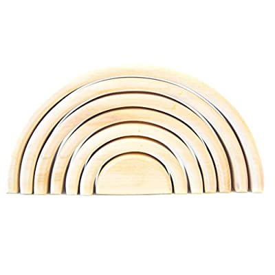 Wooden Rainbow Stacking Toy Natural Rainbow Stacker Baby Building Toys Activity Play Montessori Toys Wooden Rainbow Stacking Toy Sorting Waldorf Toys Blocks Stacking Games 7 Pcs Piece (Natural 7 Pcs): Toys & Games