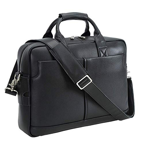 Padded Laptop Messenger - Texbo Genuine Full Grain Leather Men's 16 Inch Laptop Briefcase Messenger Bag Tote (Black)