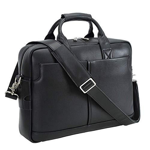 Texbo Genuine Full Grain Leather Men's 16 Inch Laptop Briefcase Messenger Bag Tote (Black)