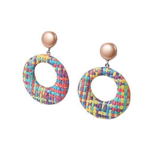 Voberry Hoop Earrings for Women Statement Circle Earrings Geometric Glazed Layers Oval Drop Dangle Earrings