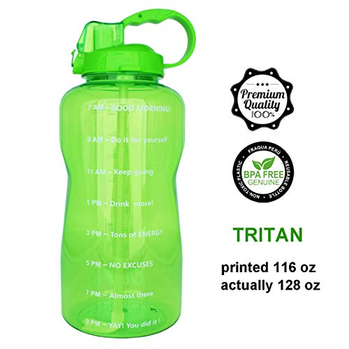 QuiFit 128oz Portable Drinking Straw Daily Water Bottle Sport Water Jug Gallon BPA Free Non Leak Design with Time Marked to Ensure You Drink Enough of Water Throughout The Day(Mint Green)