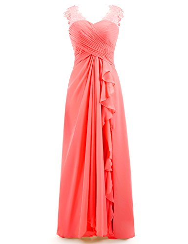 Miao Duo Women's Maxi Lace Chiffon Ruched Sweetheart Bridesmaid Dresses Long Wedding Party Gowns Coral 12