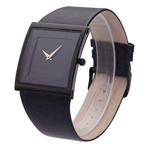 - Wrist Watch Minimalist Mens Square Black Dial Bussiness Style SIBOSUN Leather Strap Quartz Analog