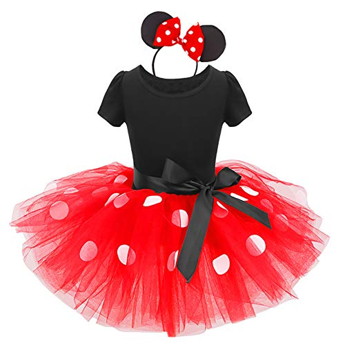 (Baby Girls Minnie Polka Dots Princess Christmas Dress Cosplay 1st Birthday Outfits Pageant Fancy Costume Bowknot Ballet Dance Leotard Tutu Skirt with Mouse Ears Headband Red Polka Dot 12-18)