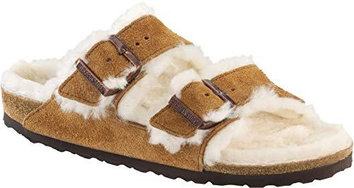 Lined Suede Sandals - Birkenstock Arizona Shearling Mink Beige Unisex Sandals 38 (US Women's 7-7.5)