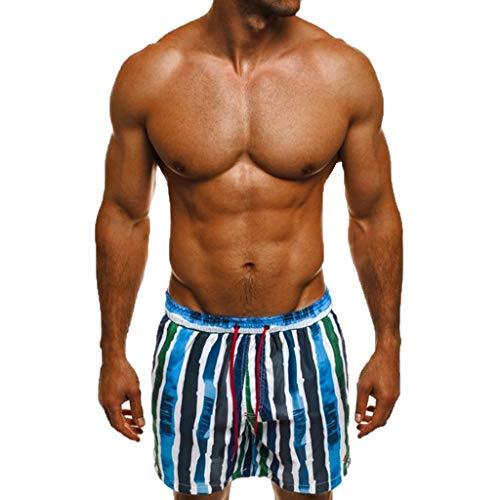 Zackate Quick Dry Swim Holiday Trunks Colorful Stripe Beach Shorts Drawstring Swimwear Bathing Suits Beachwear Blue