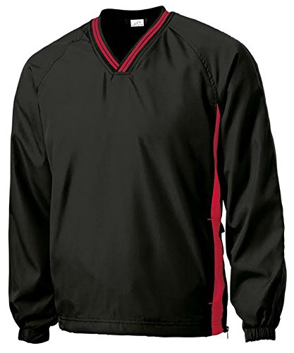 Majestic Pullover - Joe's USA(tm - Men's Athletic All Sport V-Neck Raglan Wind Shirts in 2XL Black/True Red