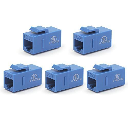 [UL Listed] VCE 5-Pack CAT6 Keystone Coupler,RJ45 Female to Female Insert Coupler, UTP Keystone Inline Coupler-Blue