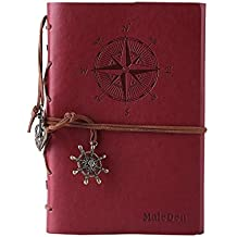 Leather Journal Refillable, MALEDEN Premium Spiral Notebook Classic Binder Vintage Embossed Travelers Journal with Blank Paper and Retro Pendants (Red)