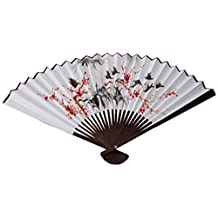 Oriental Furniture Unique Asian Art, Decor and Gifts, 24-Inch Japanese White Painted Wall Fan, Red Flowers and Birds No.1