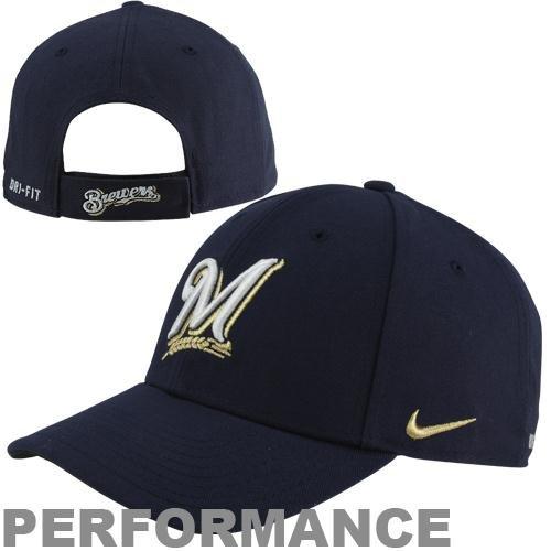 NIKE Milwaukee Brewers Dri-FIT Wool Classic Performance Hat - Navy Blue