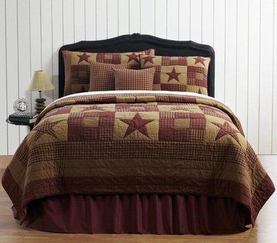 Ninepatch Star 4 Piece Queen Quilt Set (Bed Ensemble Pine)