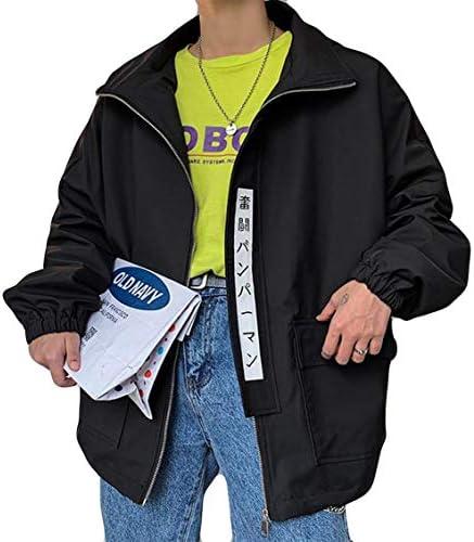 DeBangNiメンズ ジャケット ブルゾン 春服 スタジャン 無地 ゆったり 大きいサイズ ジャンパー フード付き 原宿風 カジュアル アウター 韓国風 ハンサム アウトドア