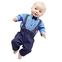 Changeshopping Baby Boys Pants Sets Plaid T-shirt Top Bib Pants Overall Outfits