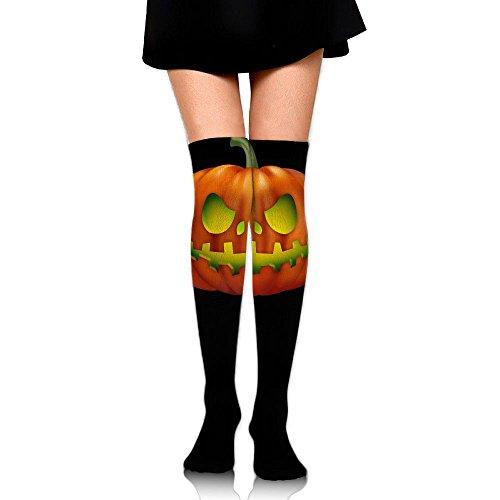 Women Thigh High Socks Over Knee Halloween Pumpkin Extra Long Tube Dress Legging Slim Look -